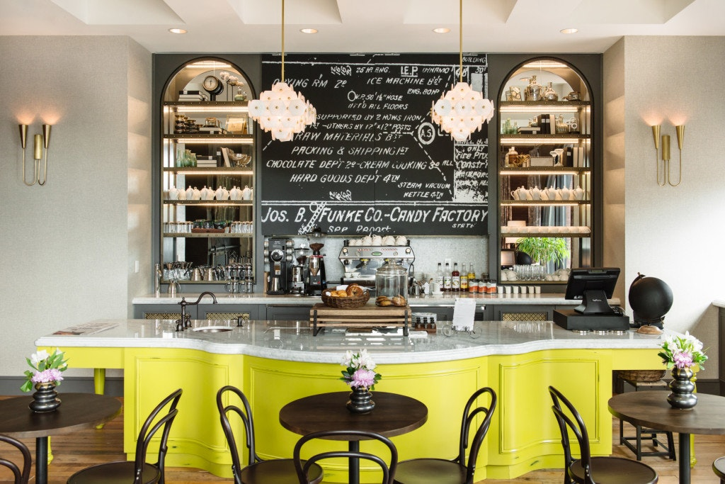 The Charmant Hotel's downstairs parlor channels the building's candy factory past.