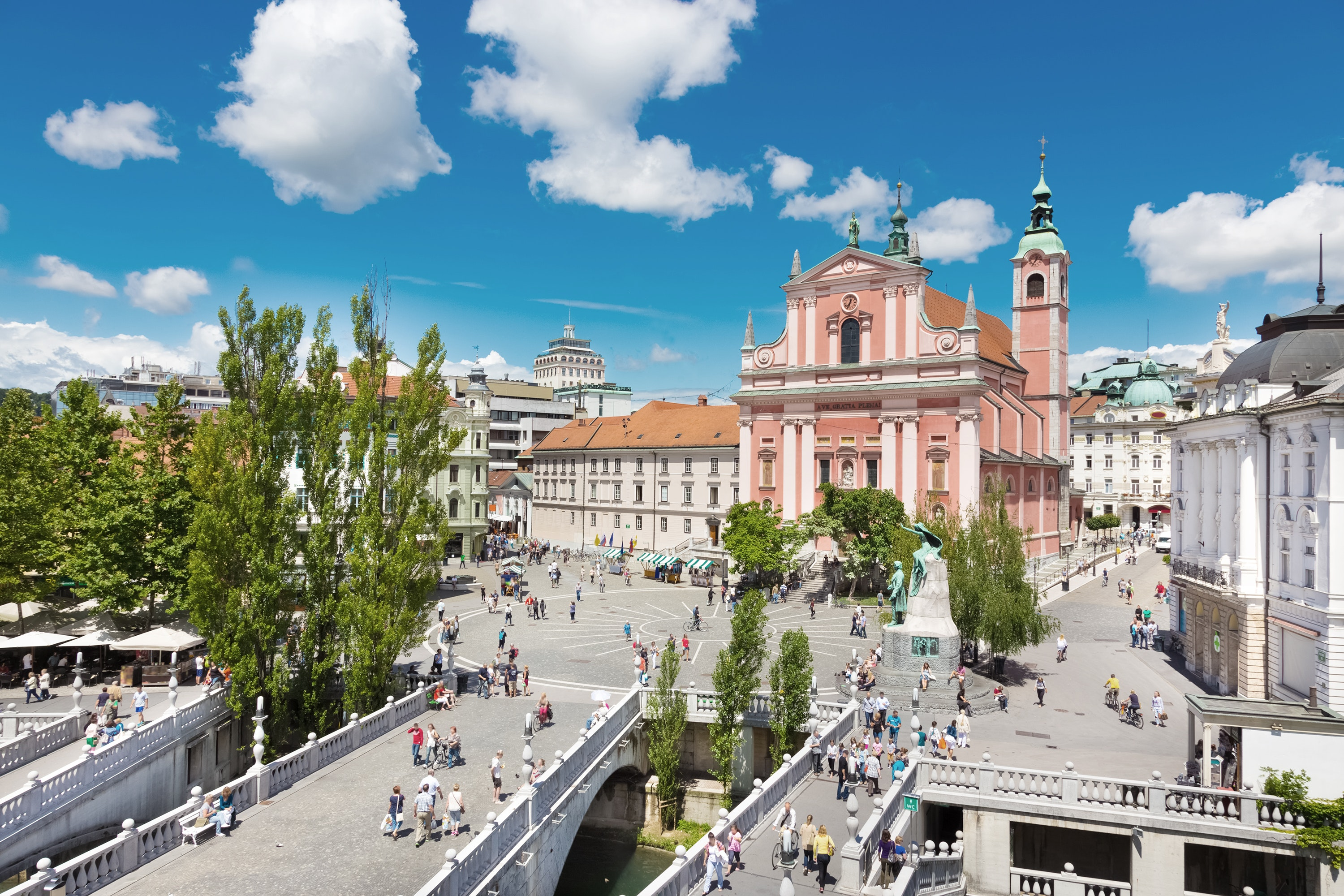 The Slovenian capital of Ljubljana showcases a mix of medieval and modern architectural styles and a thriving art scene.