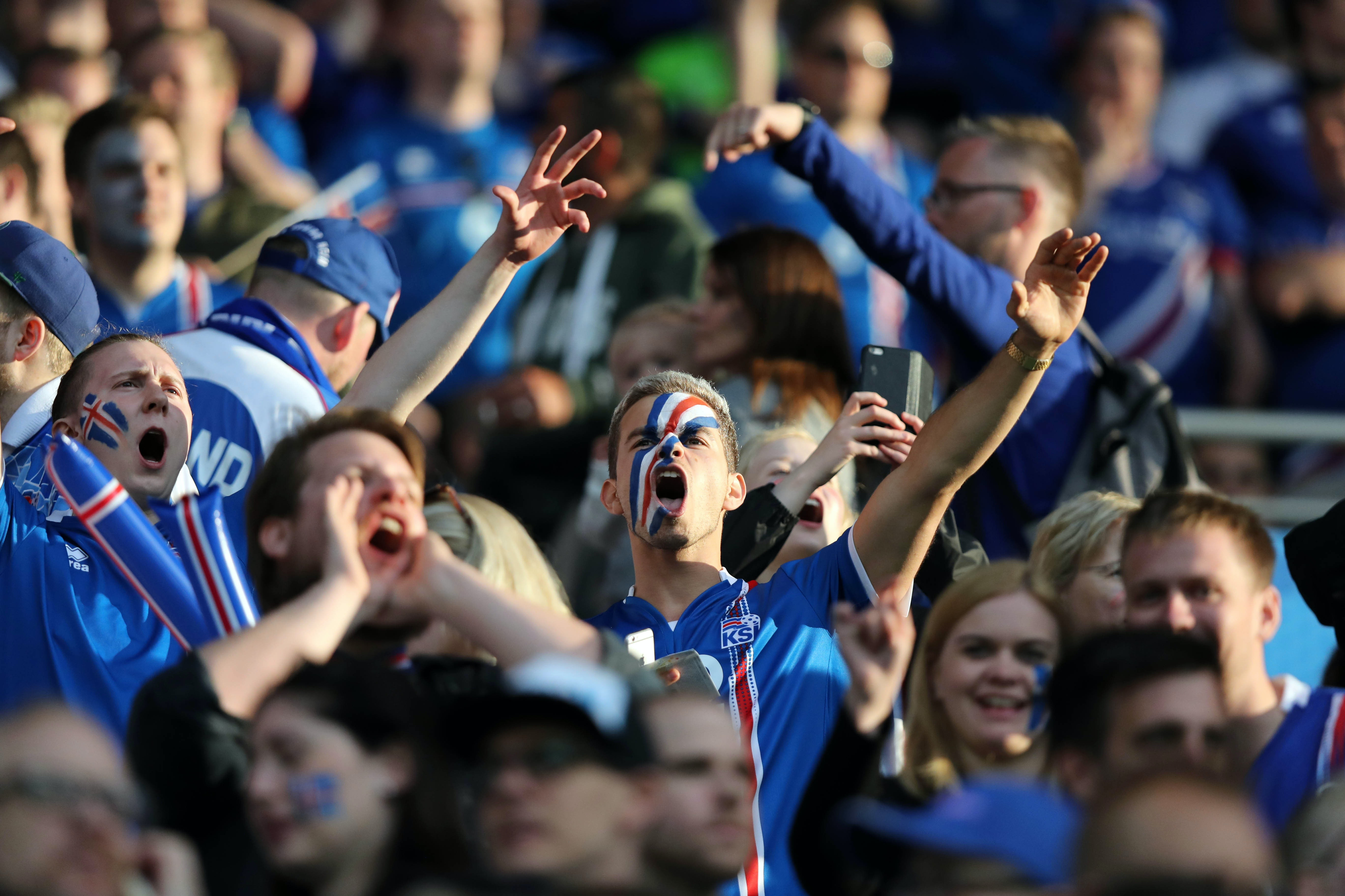 Iceland fans during the first game of their unexpected winning streak during the 2016 EuroCup.