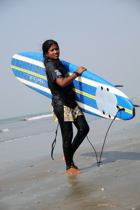 Nassima Akter, a member of the Bangladesh Surf Club