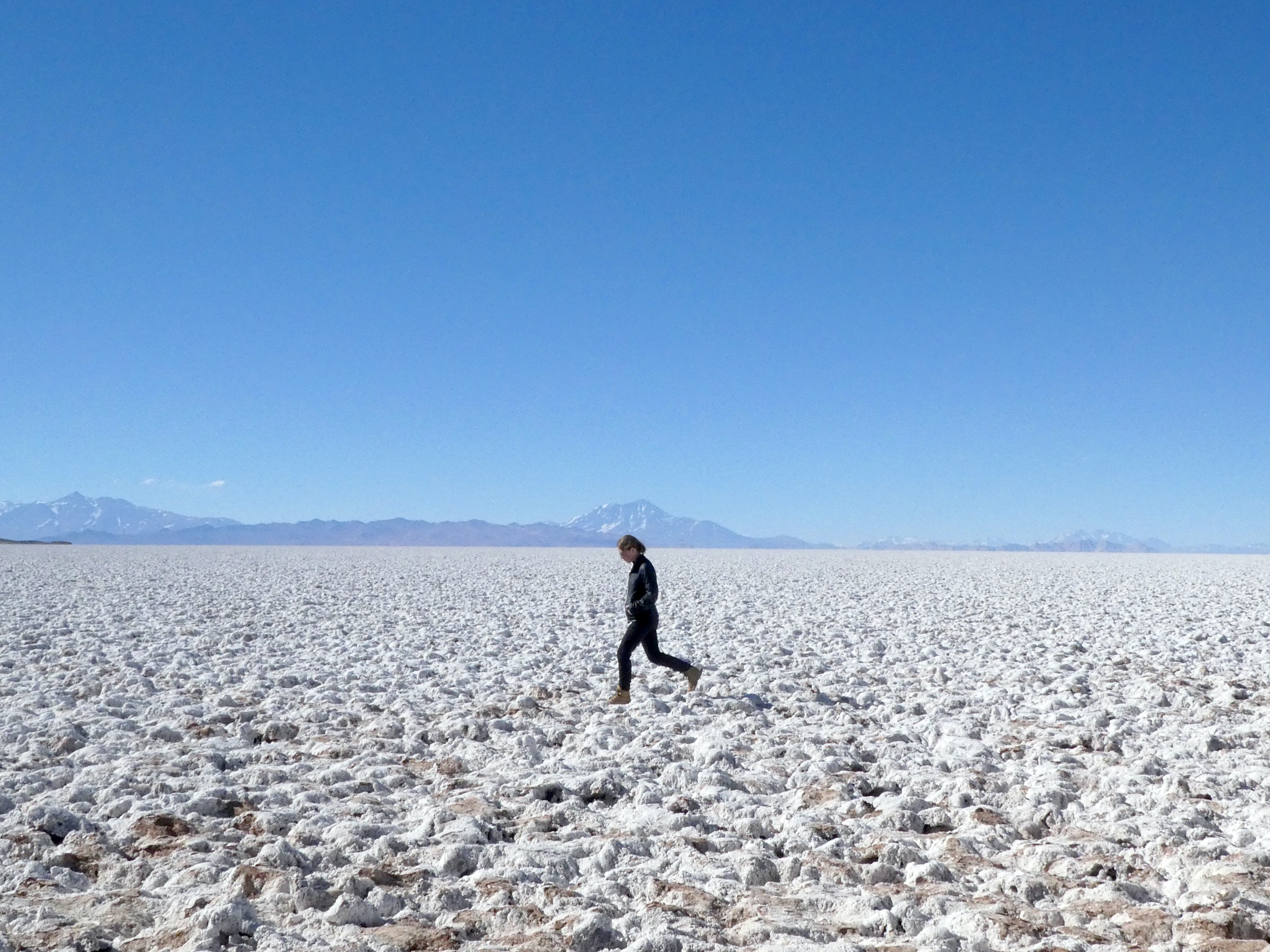 The popcorn-esque surface of the Salar de Arizaro, the biggest salt flat in the area.