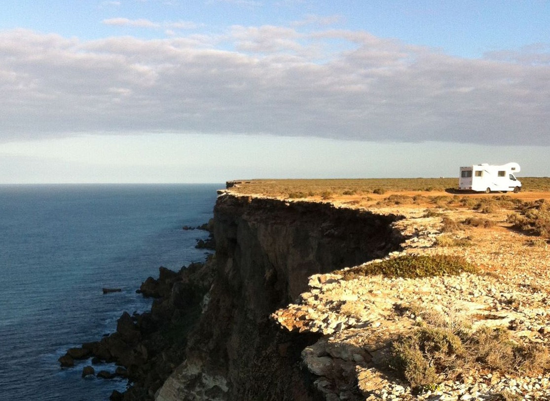 The van parked on the cliffs of the Great Australian Bight