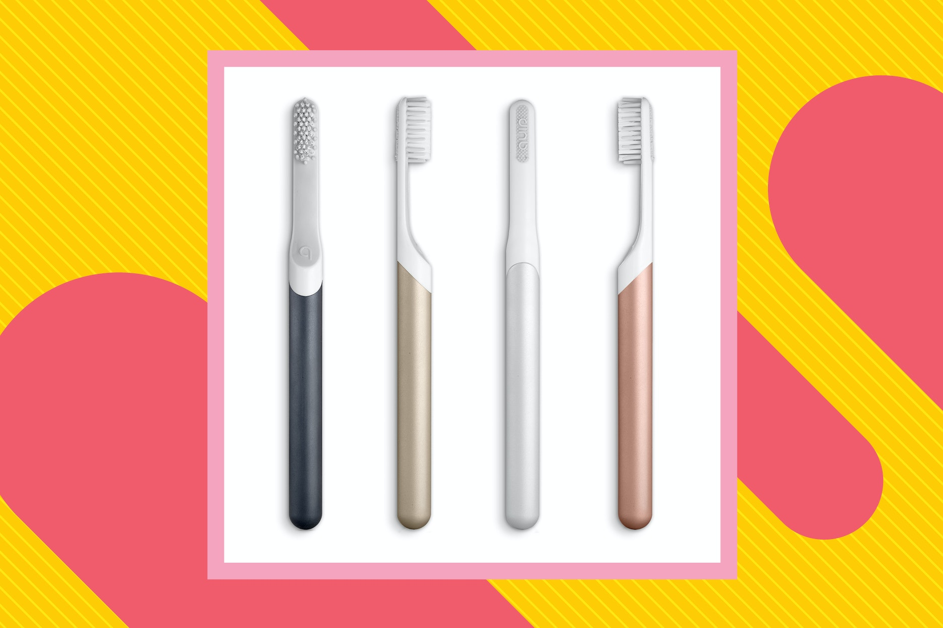 Quip toothbrushes are both compact and visually appealing.