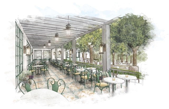 A rendering of the restaurant terrace in the forthcoming Park MGM Grand in Las Vegas, slated to open in 2018.