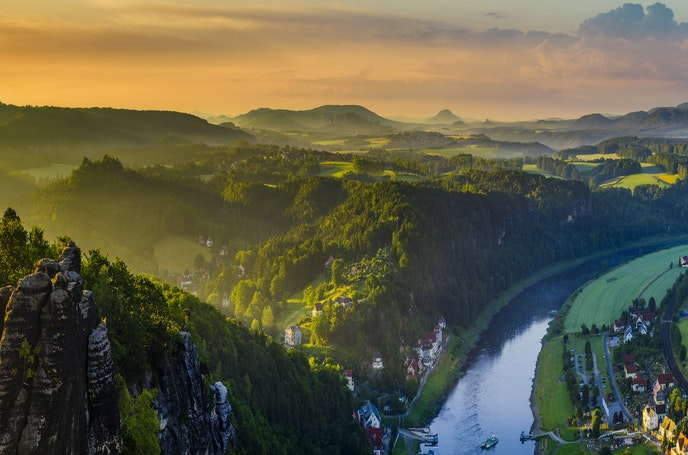 A view of the Elbe River from the Bastei rock formation of Germany's Elbe Sandstone Mountains