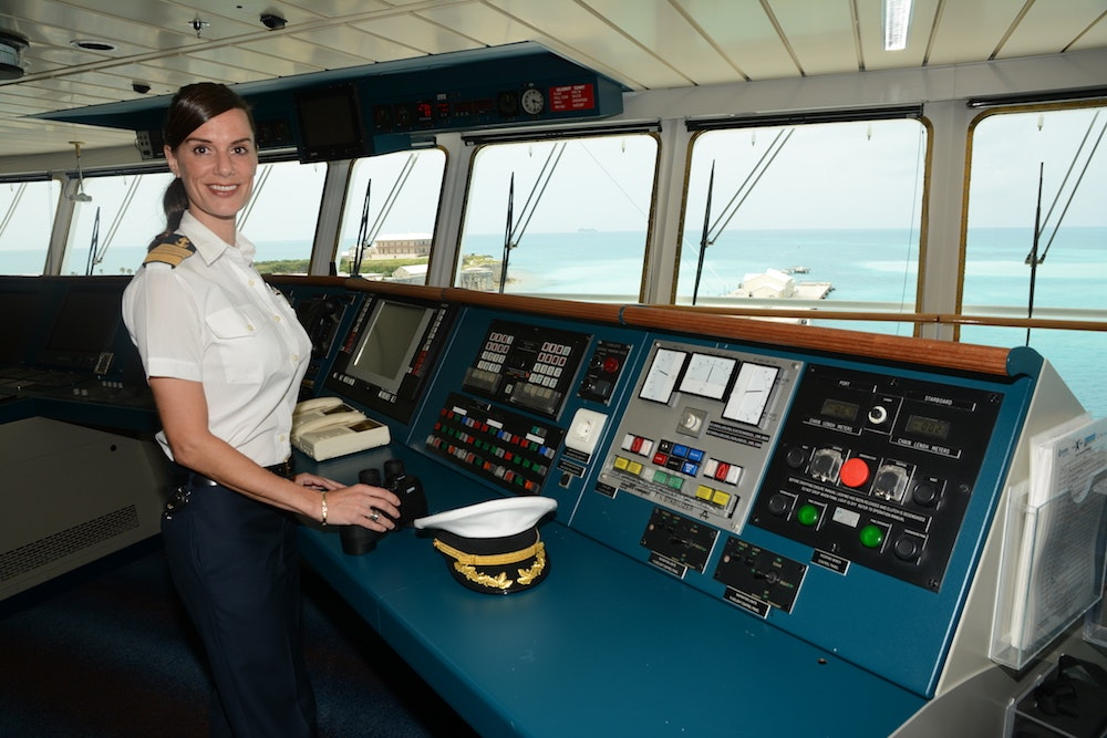 "Captain Kate McCue helms Celebrity Cruises' ""Celebrity Equinox,"" a 2,850-passenger ship."