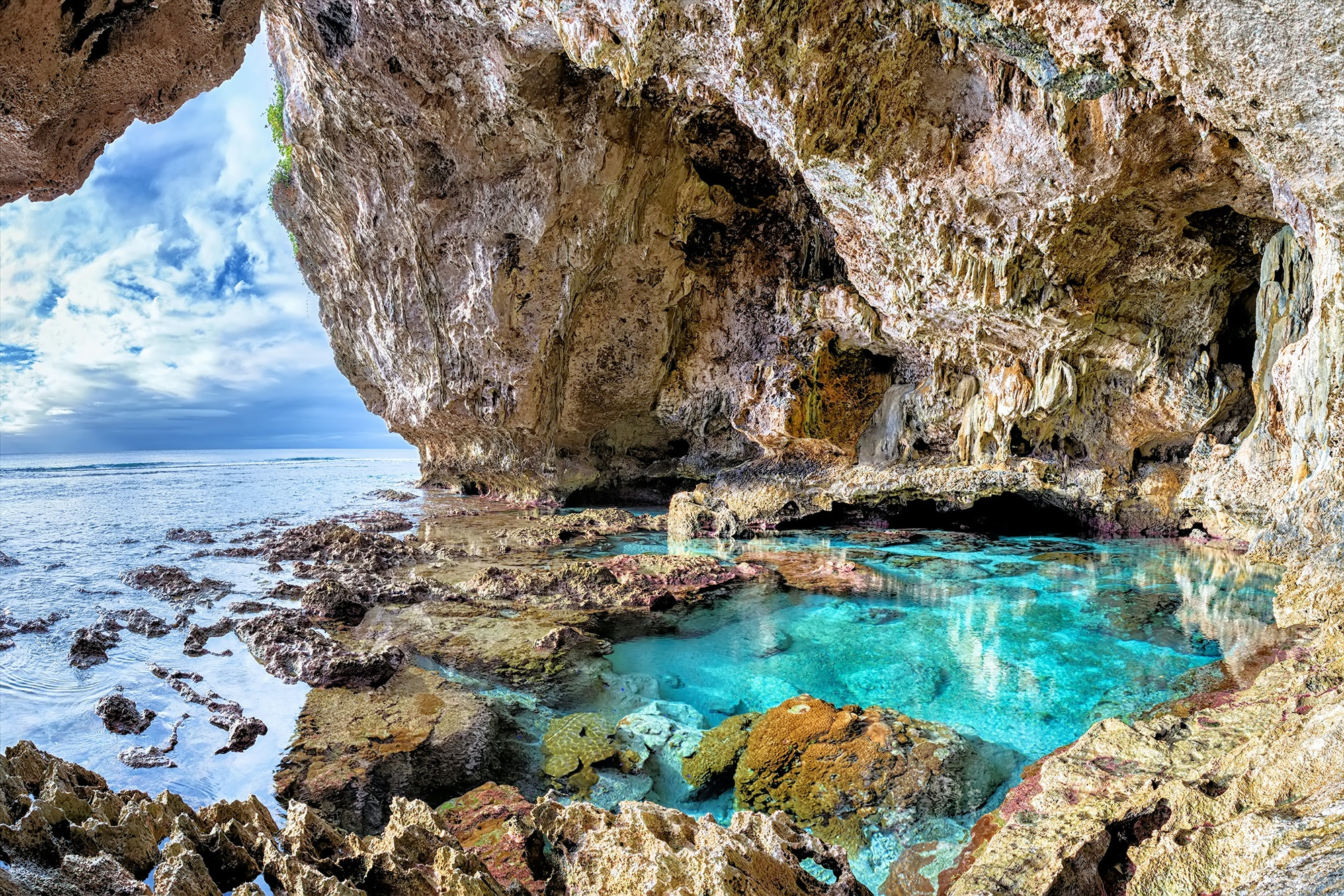 The clear waters and limestone caves off the coast of Niue are popular with divers.