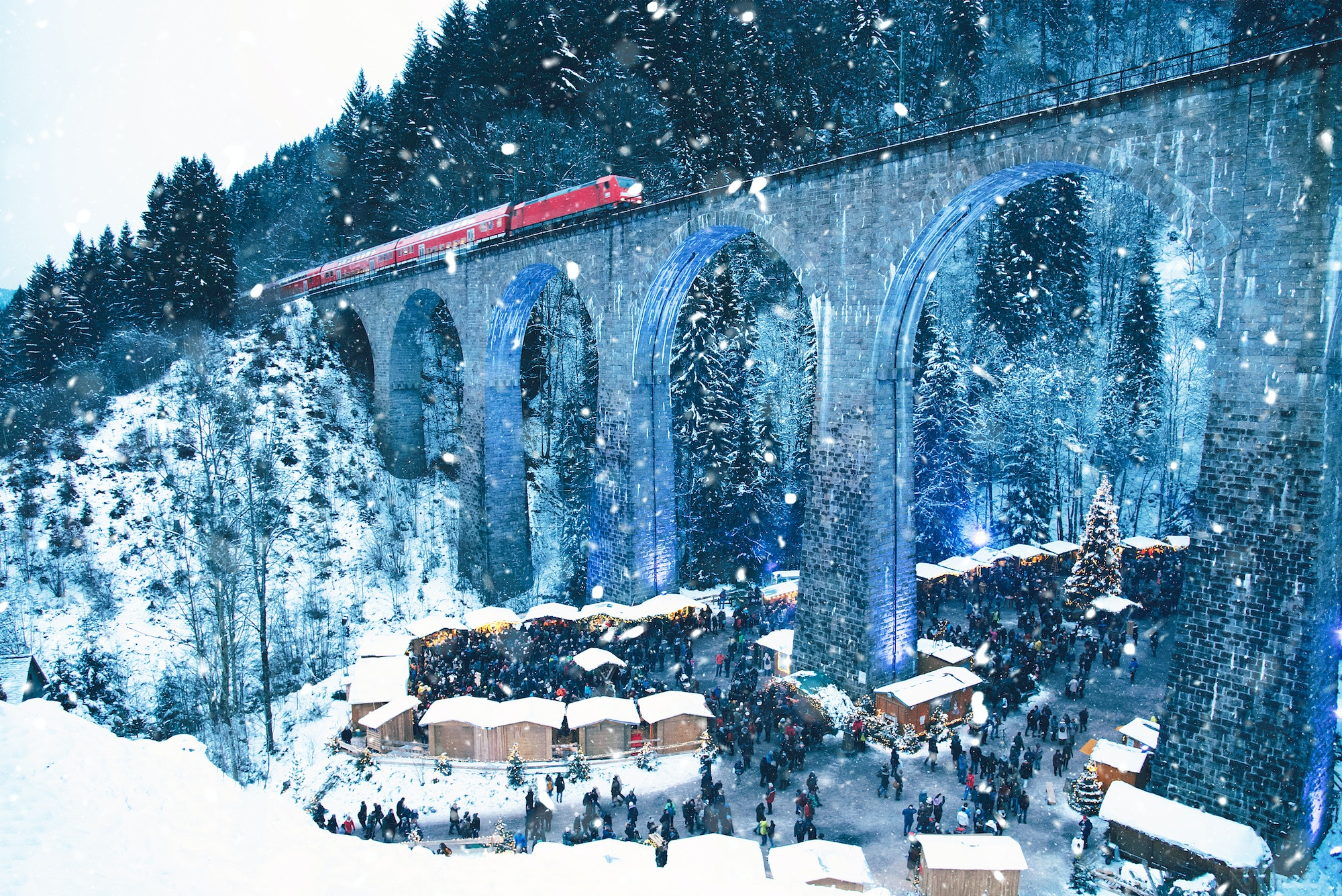 The Ravenna Gorge Christmas market is located in Germany's Black Forest.