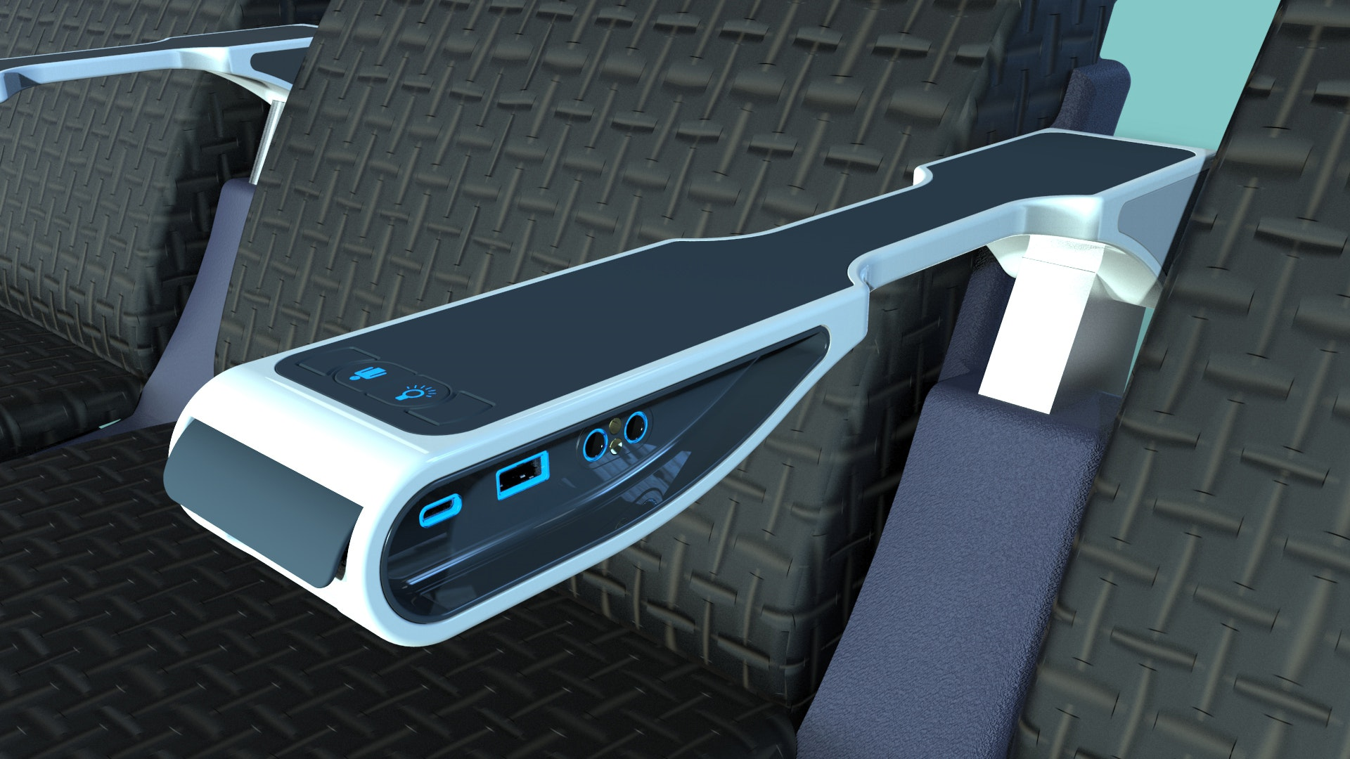 This armrest from IFPL features lighting control and a call button, along with both USB-A and USB-C outlets.