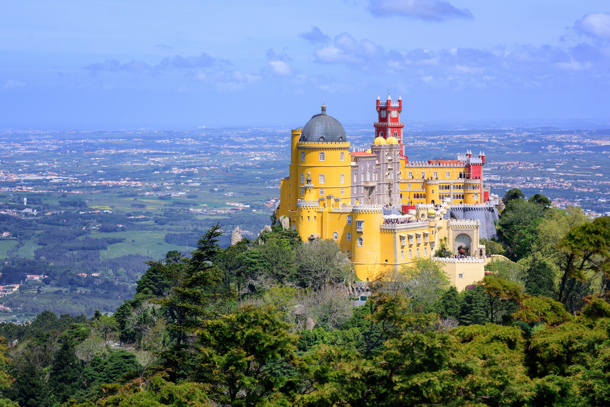 The Pena Palace sits northwest of Lisbon in Portugal's Sintra Mountains.