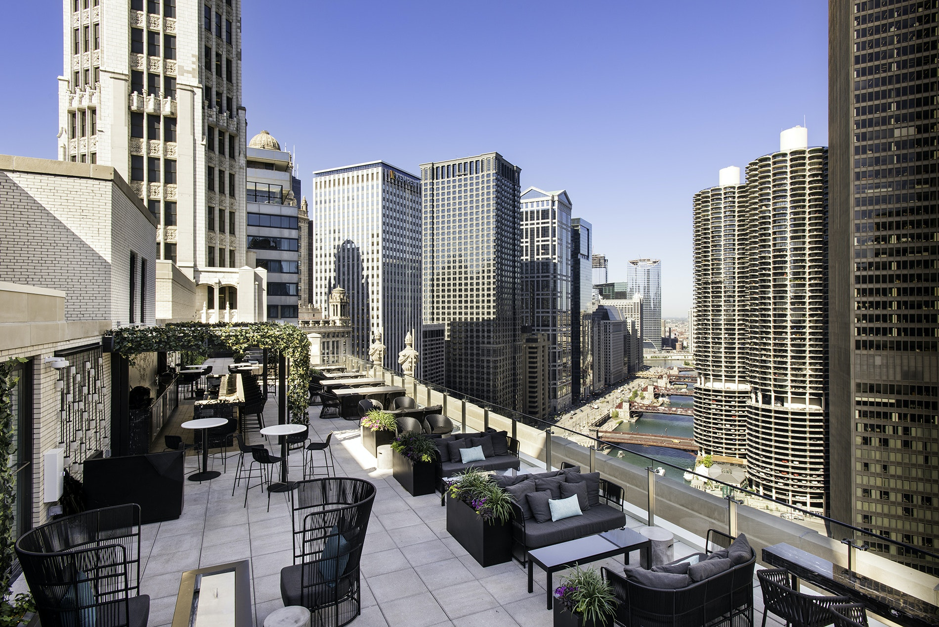 Art deco touches and views of neighboring architectural landmarks abound at the LH Rooftop.