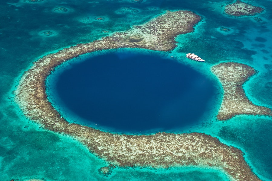 Take a day trip in Belize to see the world's largest underwater sinkhole (which is prettier than it sounds).