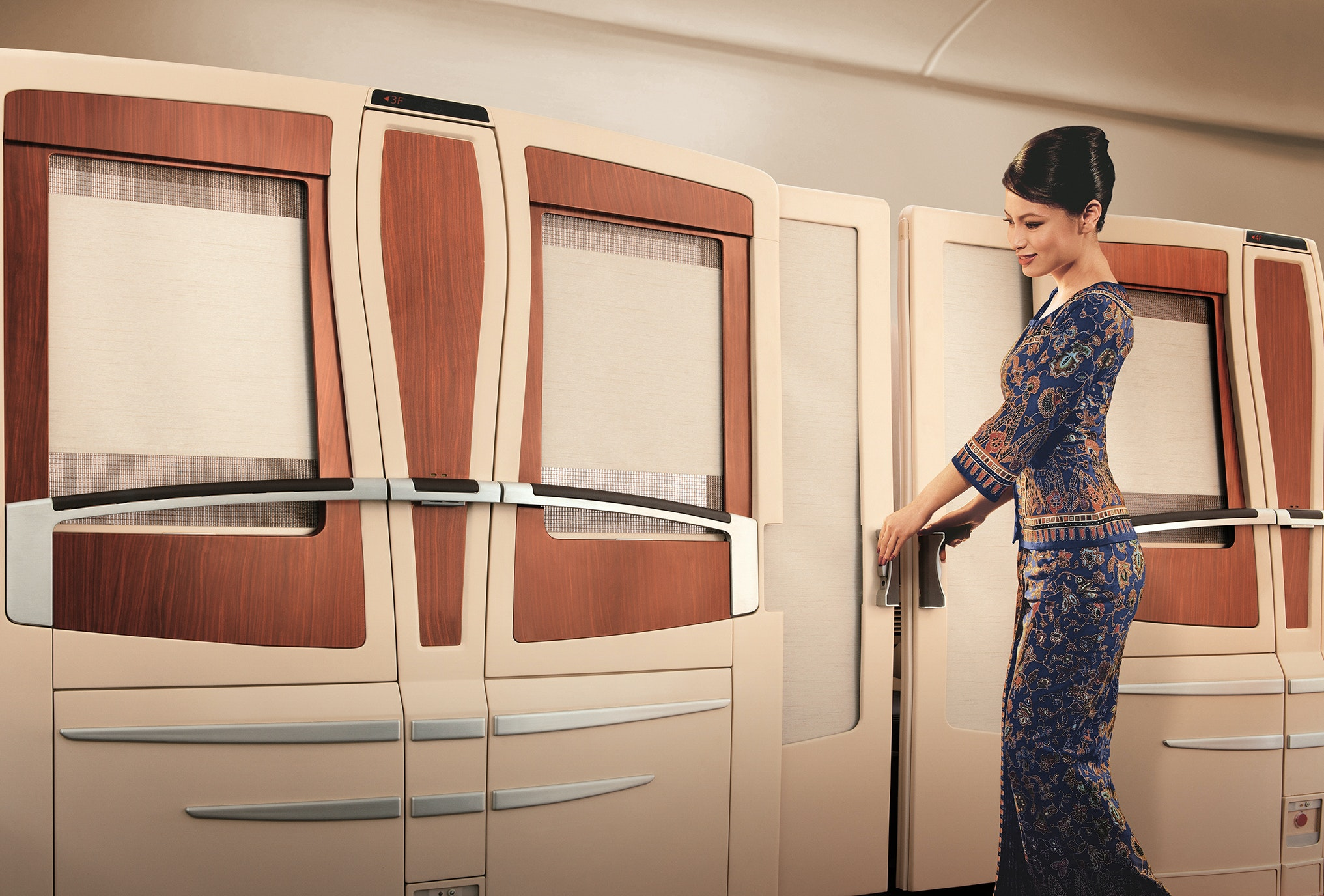 "On Singapore Airlines, uniforms for female flight attendants (known as ""Singapore Girls"") come in the form of colorfully patterned sarong kebayas."