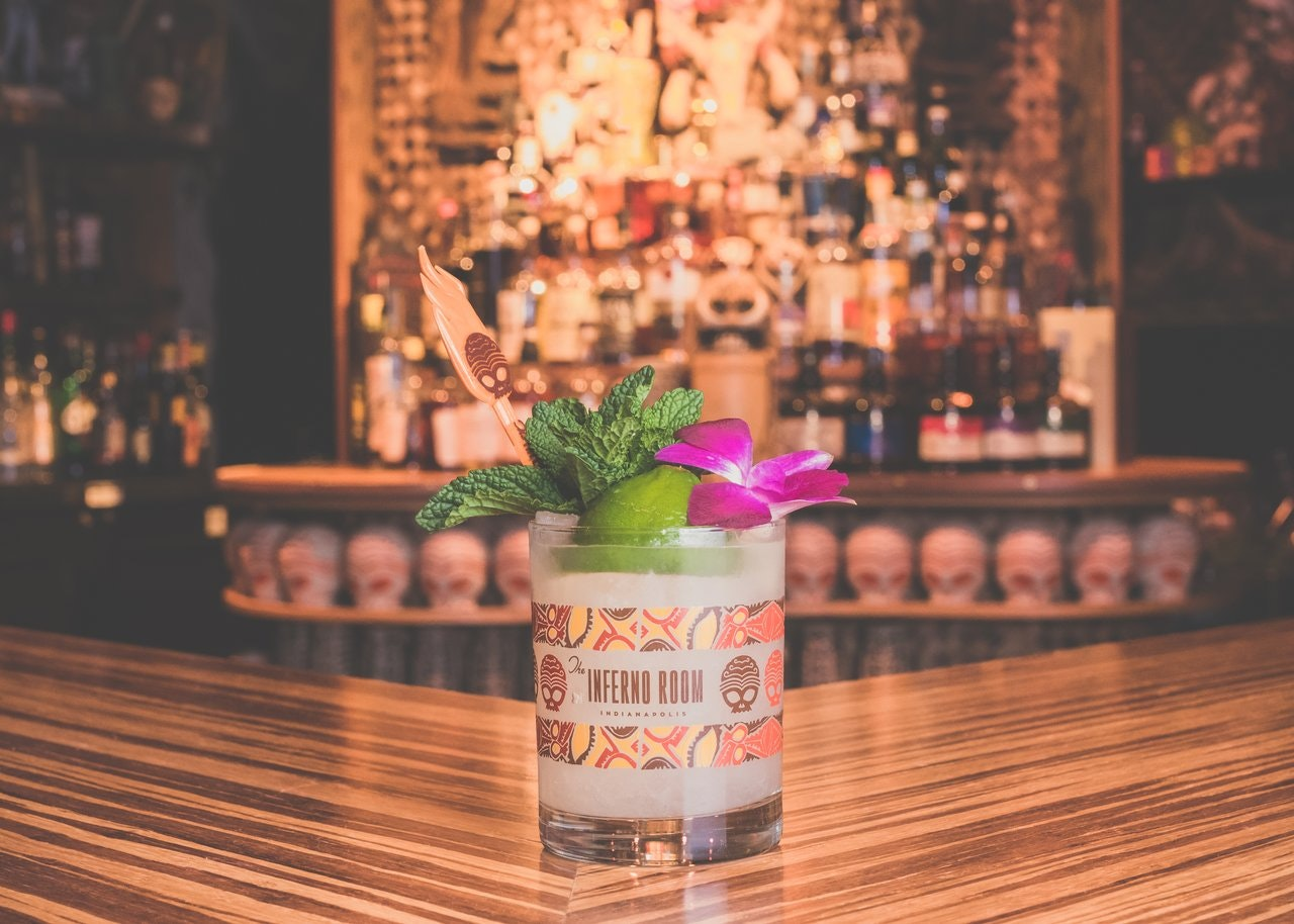 A tiki cocktail at the Inferno Room in Indianapolis