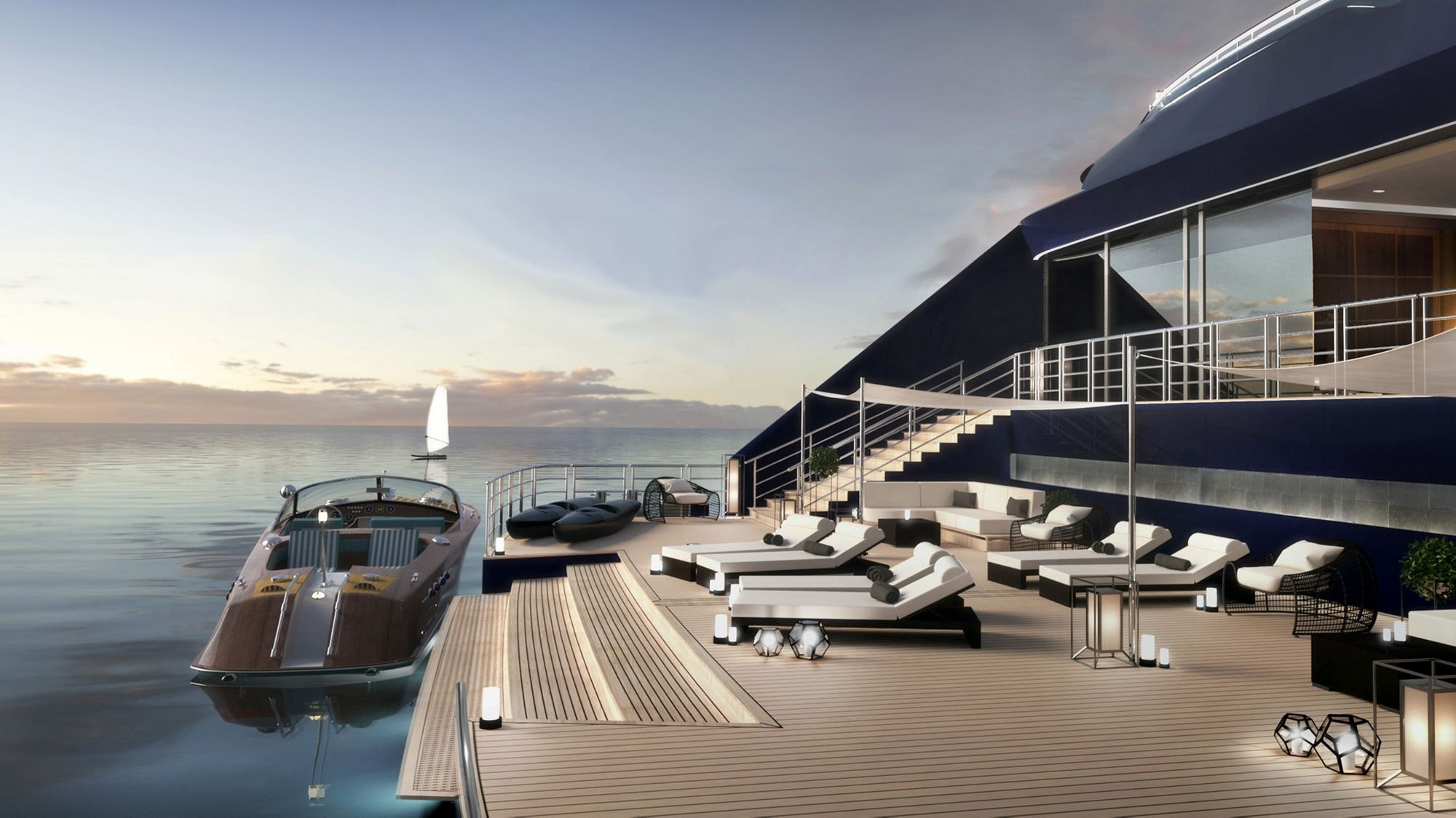 A rendering of a Ritz-Carlton yacht's open-air stern area
