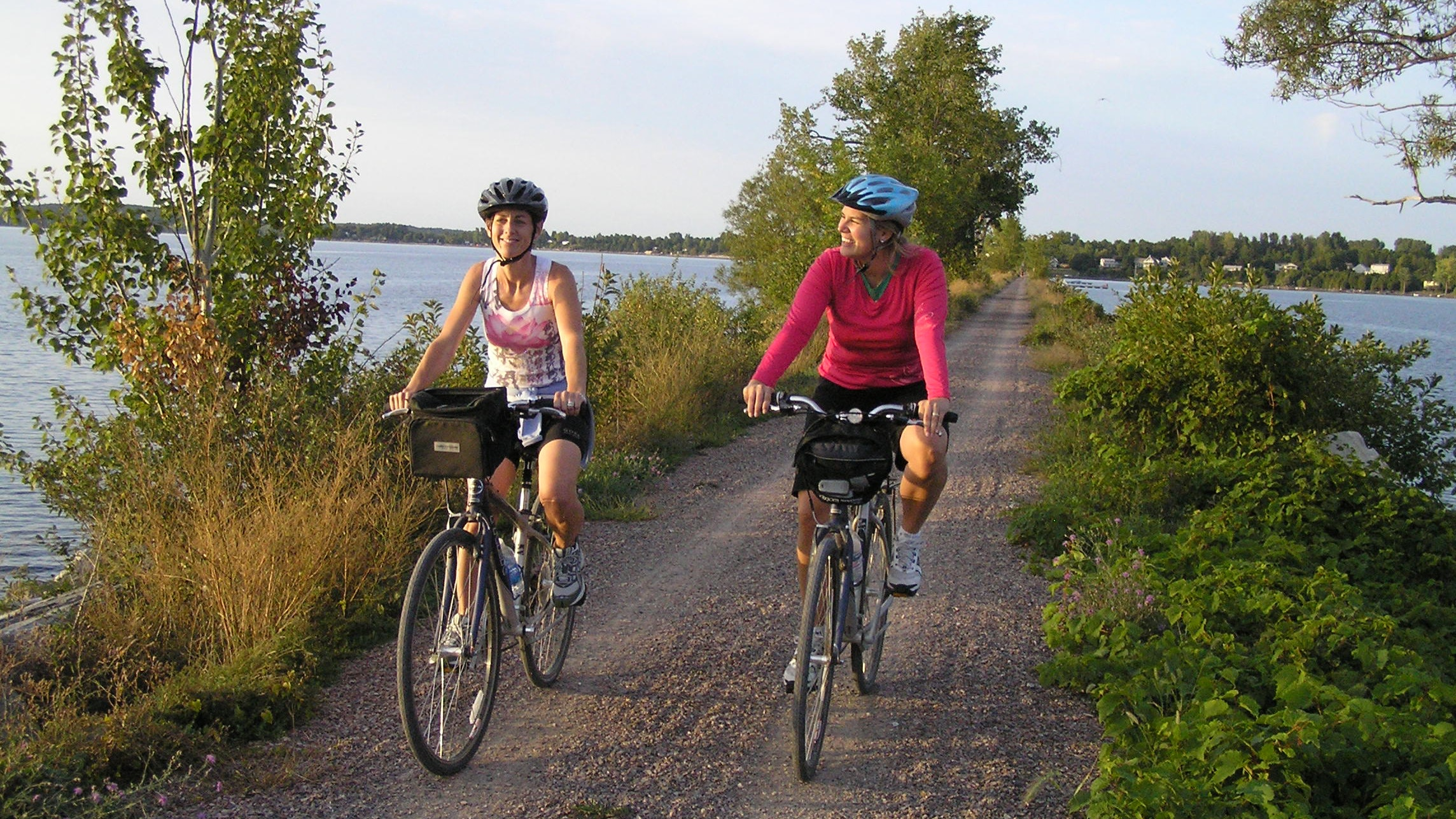 The Island Line Rail Trail extends out over Lake Champlain.