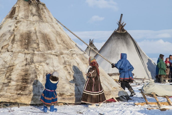 "Your lodging for the night in Siberia? A reindeer-hide tent called a ""chum."""