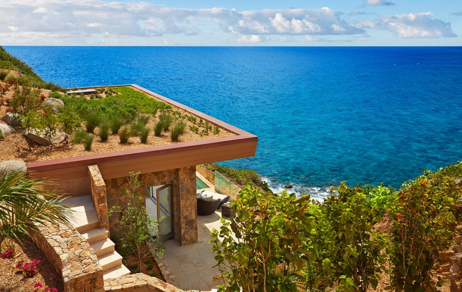 Oil Nut Bay's cliffside suites feature a living roof.