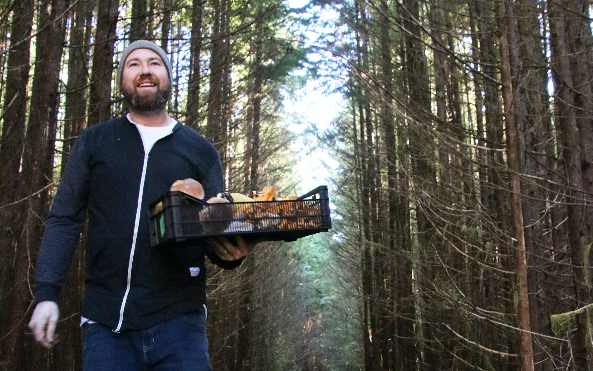Wolf in the Fog chef Nick Nutting with the day's haul of fungi