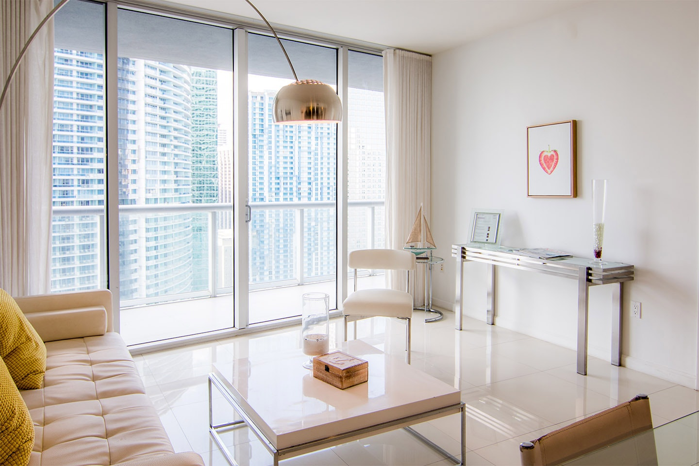 Bunk down in Brickell in a luxe condo perched on the 31st floor.