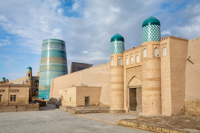 The Kunya Ark citadel in Khiva was built in the 17th century as a residential complex for the khan.