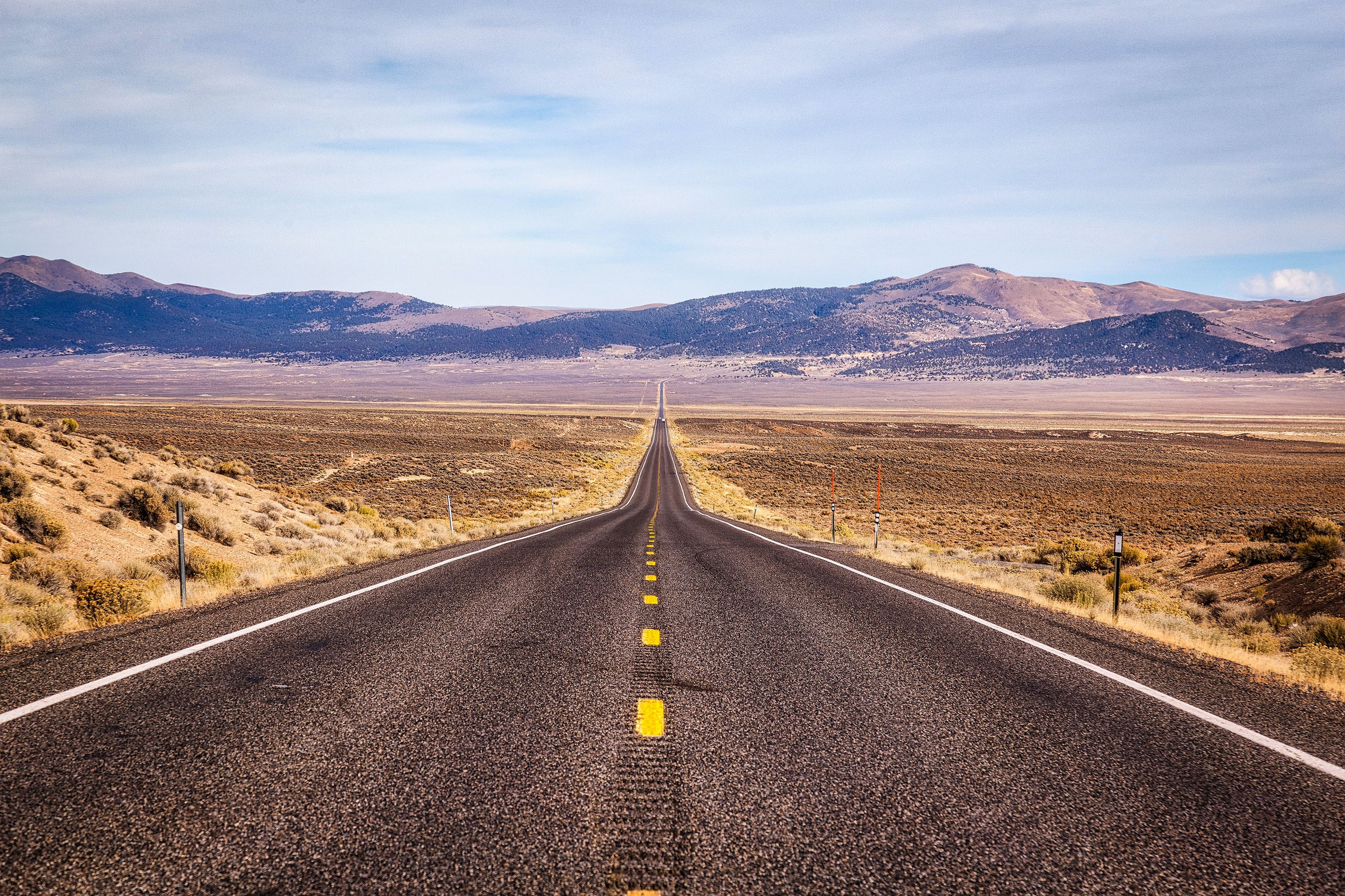 Highway 50, known as the Loneliest Road in America, traverses Nevada's Great Basin.