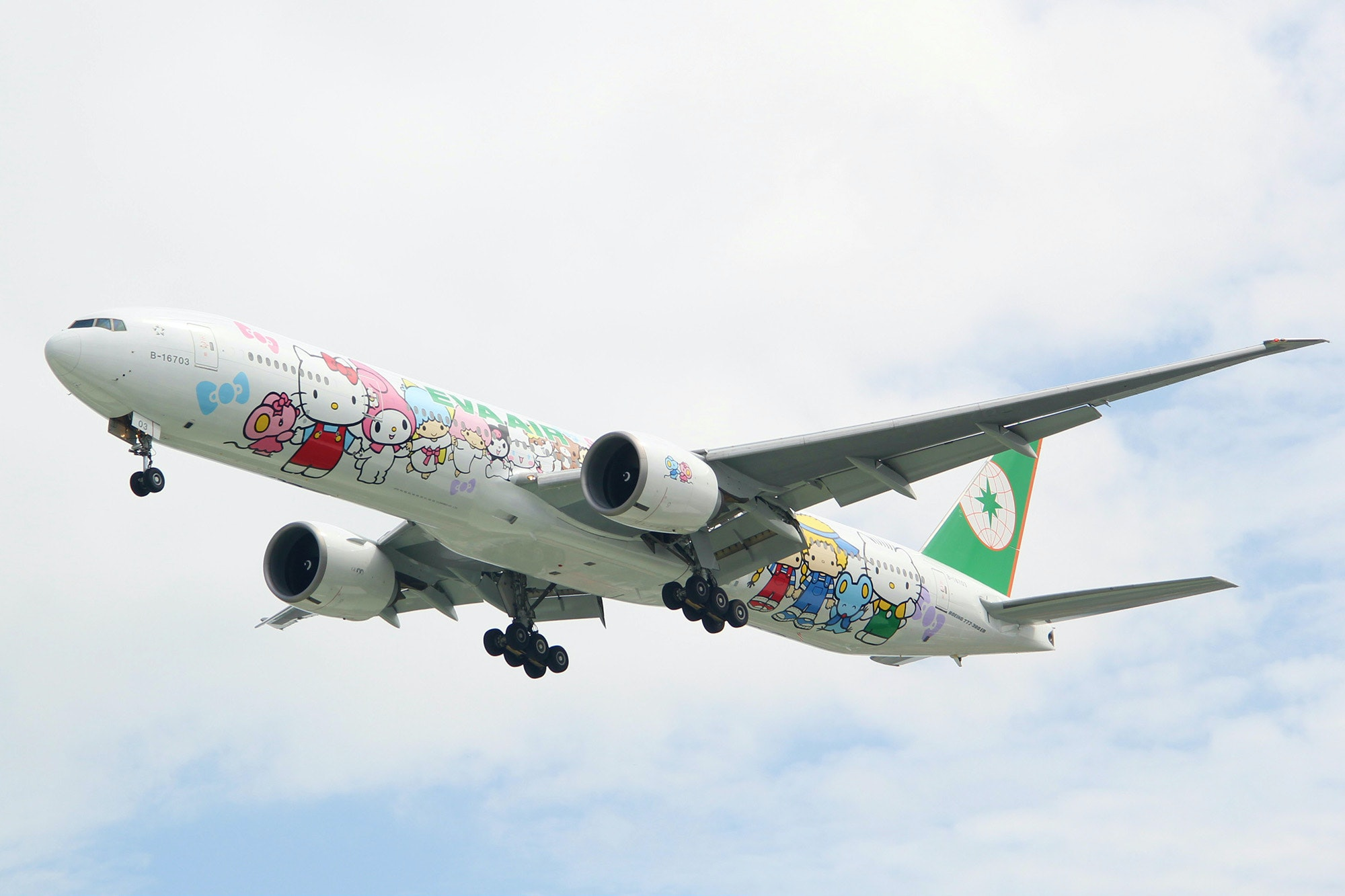 EVA Air flies seven different Sanrio-themed aircraft.