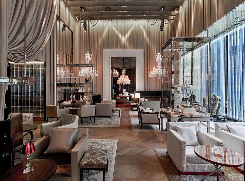 Business and leisure intertwine at Baccarat Hotel in Manhattan.