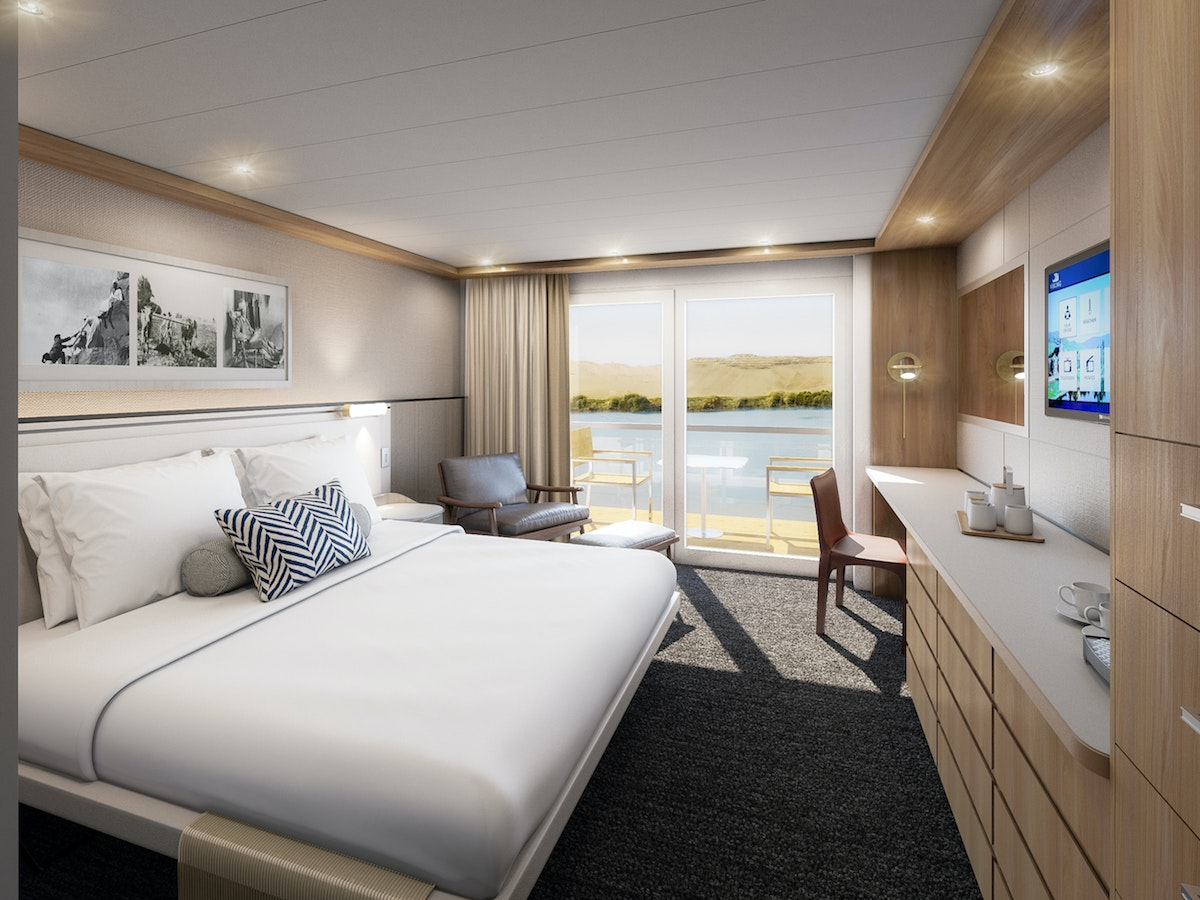 A rendering of a stateroom on the Viking Osiris.