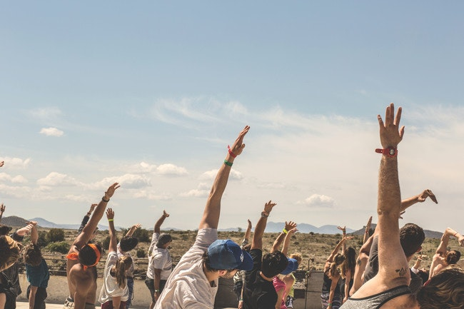 Sunrise yoga at FORM Arcosanti