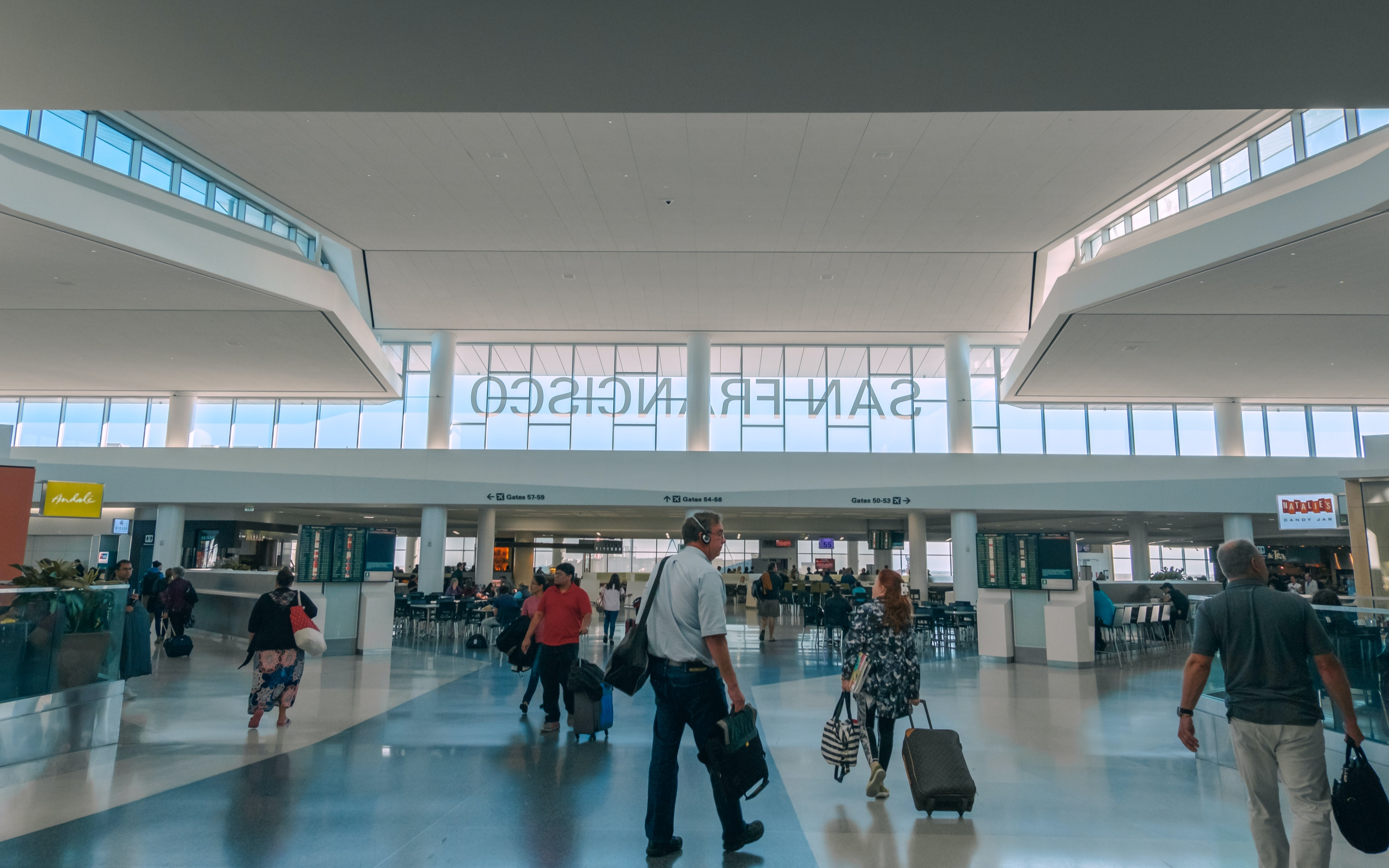 Airports such as San Francisco International handle tens of thousands of fliers daily.