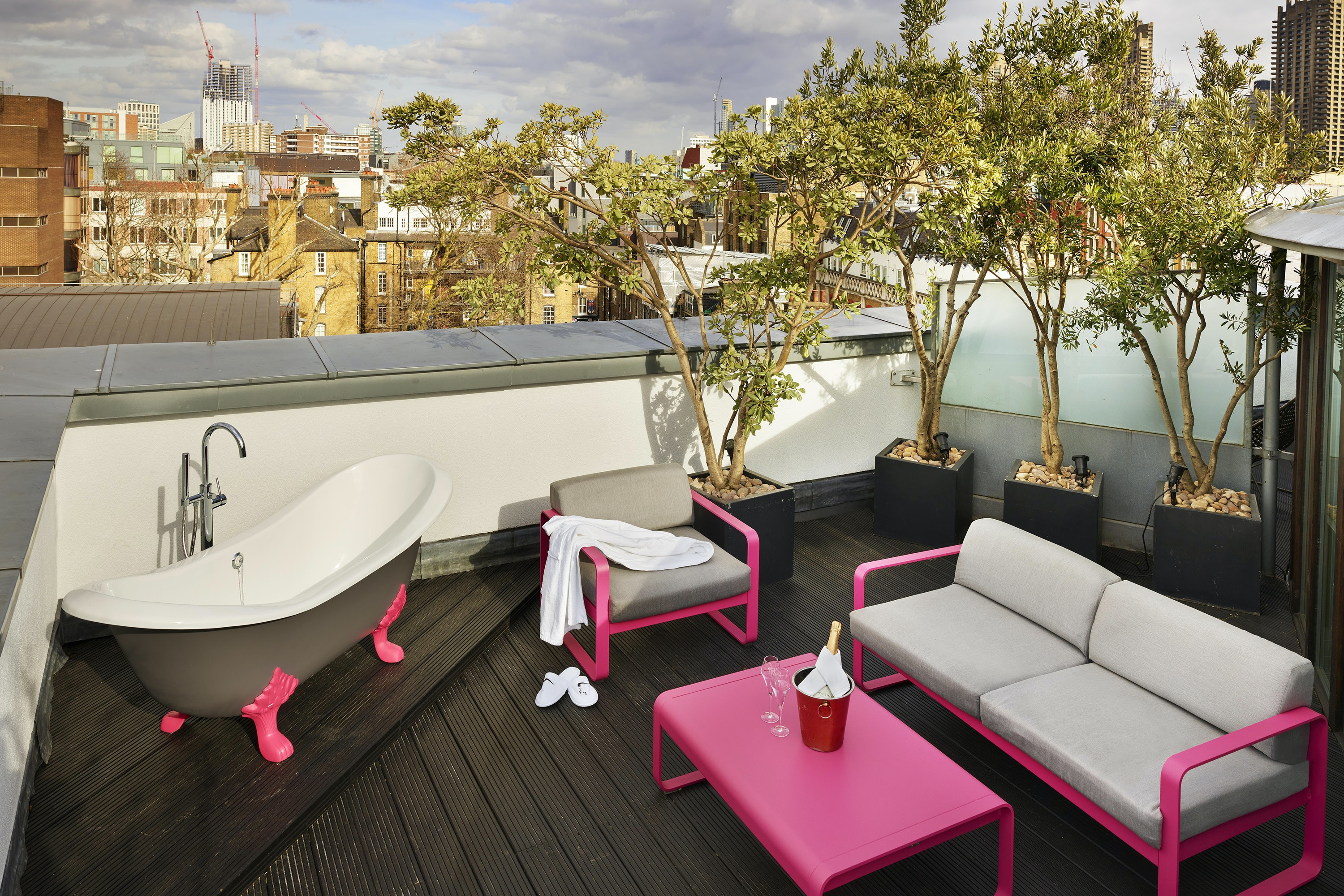 Enjoy a different perspective on London from The Zetter Hotel's rooftop bathtub.