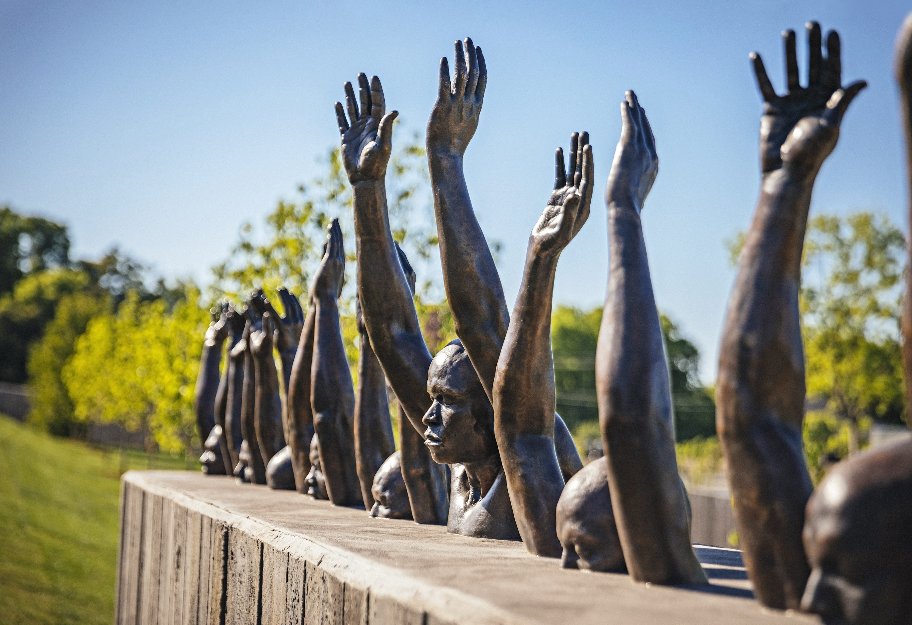A sculpture by Hank Willis Thomas addresses contemporary problems of police violence.