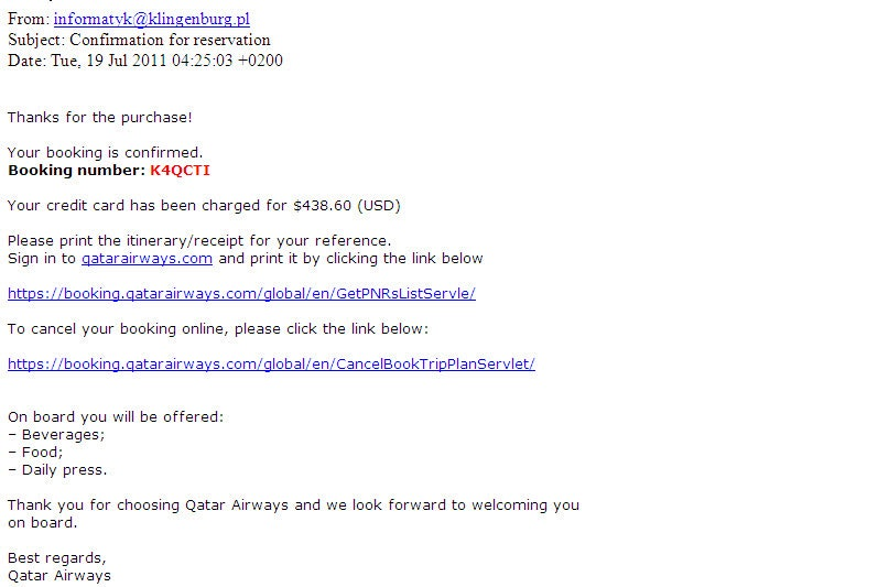 A sample of a phishing email provided by Qatar Airways.