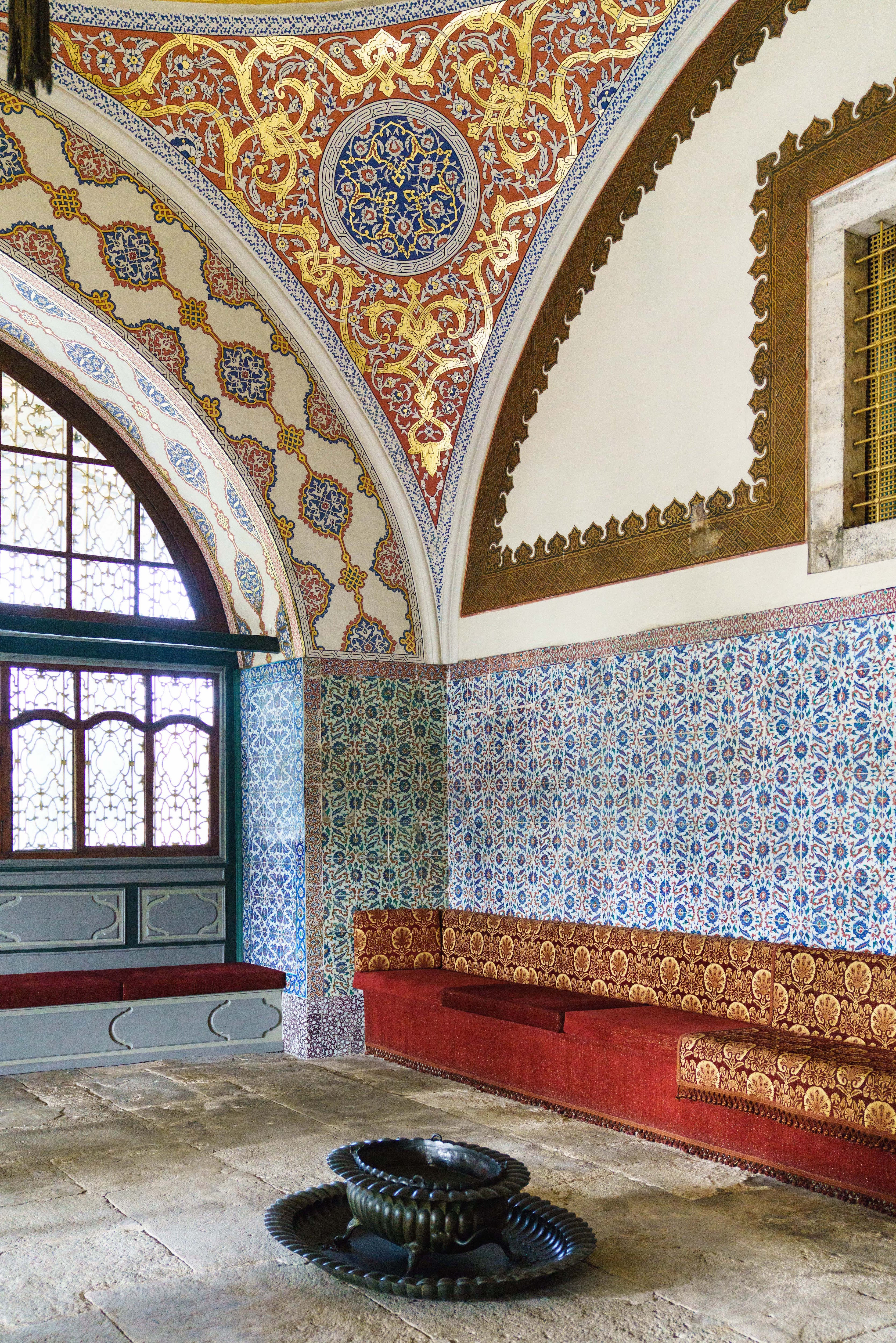 The Imperial Council of the Topkapi Palace is lined with Iznik tiles