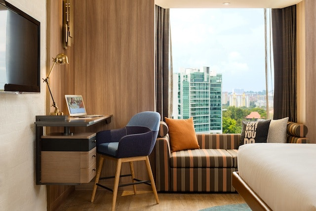 A guest room at the Hotel Jen Tanglin in Singapore.