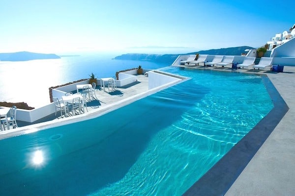 The terrace pool at Grace Santorini in Greece