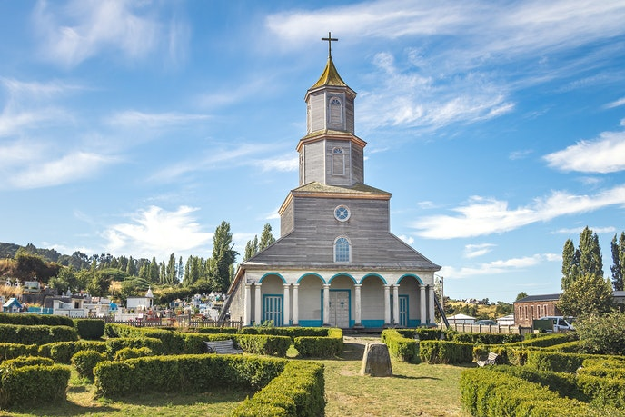 The Church of Nércon is located on Chiloé Island, about a 25-minute ferry ride from Pargua.