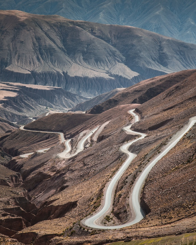 This wonderful windy road in the northern Argentinean province of Jujuy, next to the Salinas Grandes, provided a dizzy ride and a perfect place to snap a shot.