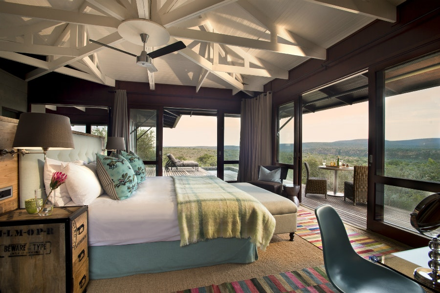 South Africa's Ecca Lodge boasts sumptuous suites overlooking the Kwandwe Private Game Reserve.
