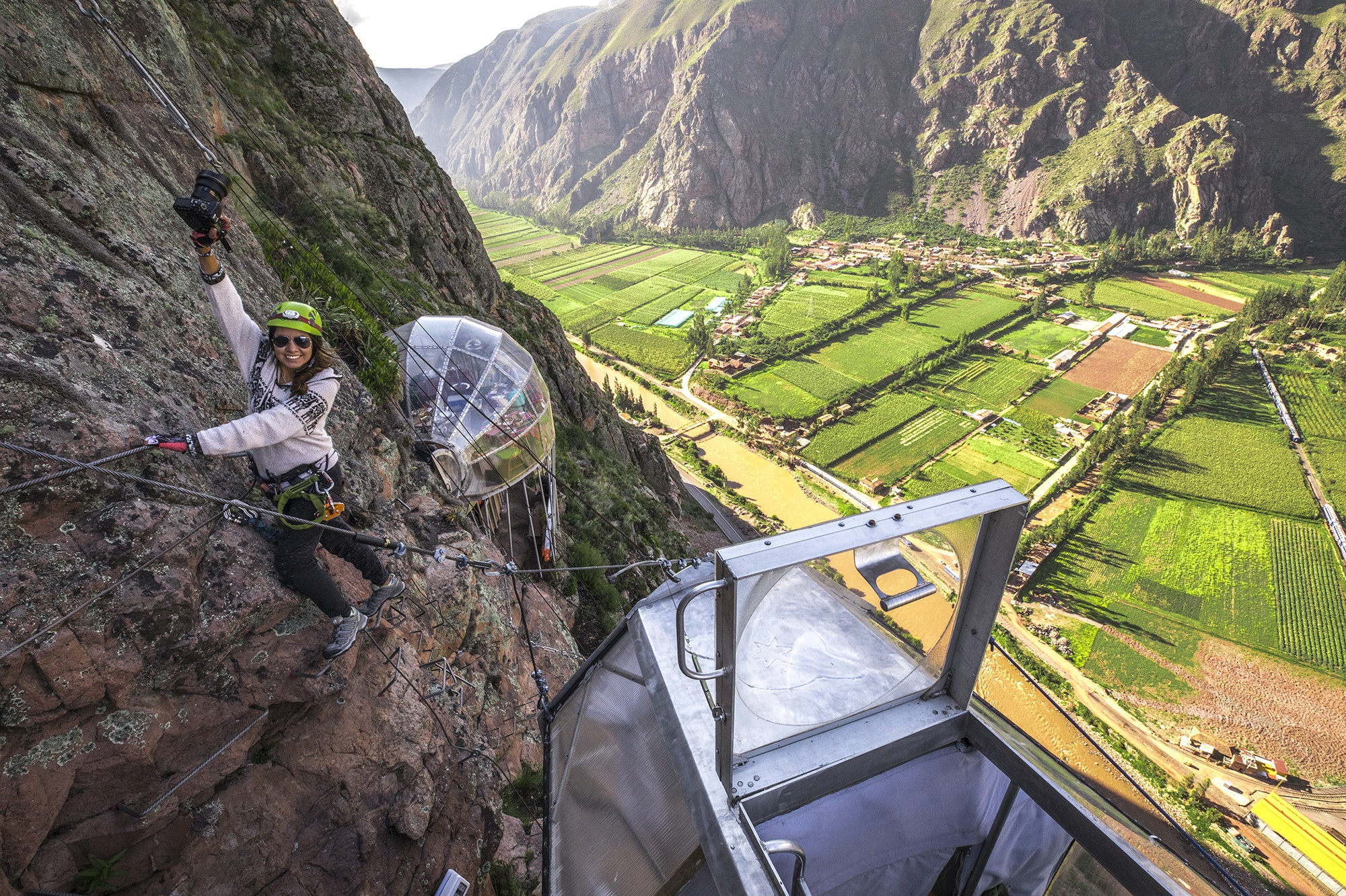 Finish a via ferrata adventure in Peru's Sacred Valley with a night at SkyLodge.