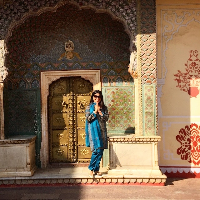 AFAR Deputy Editor Jenn Flowers at the City Palace, Jaipur