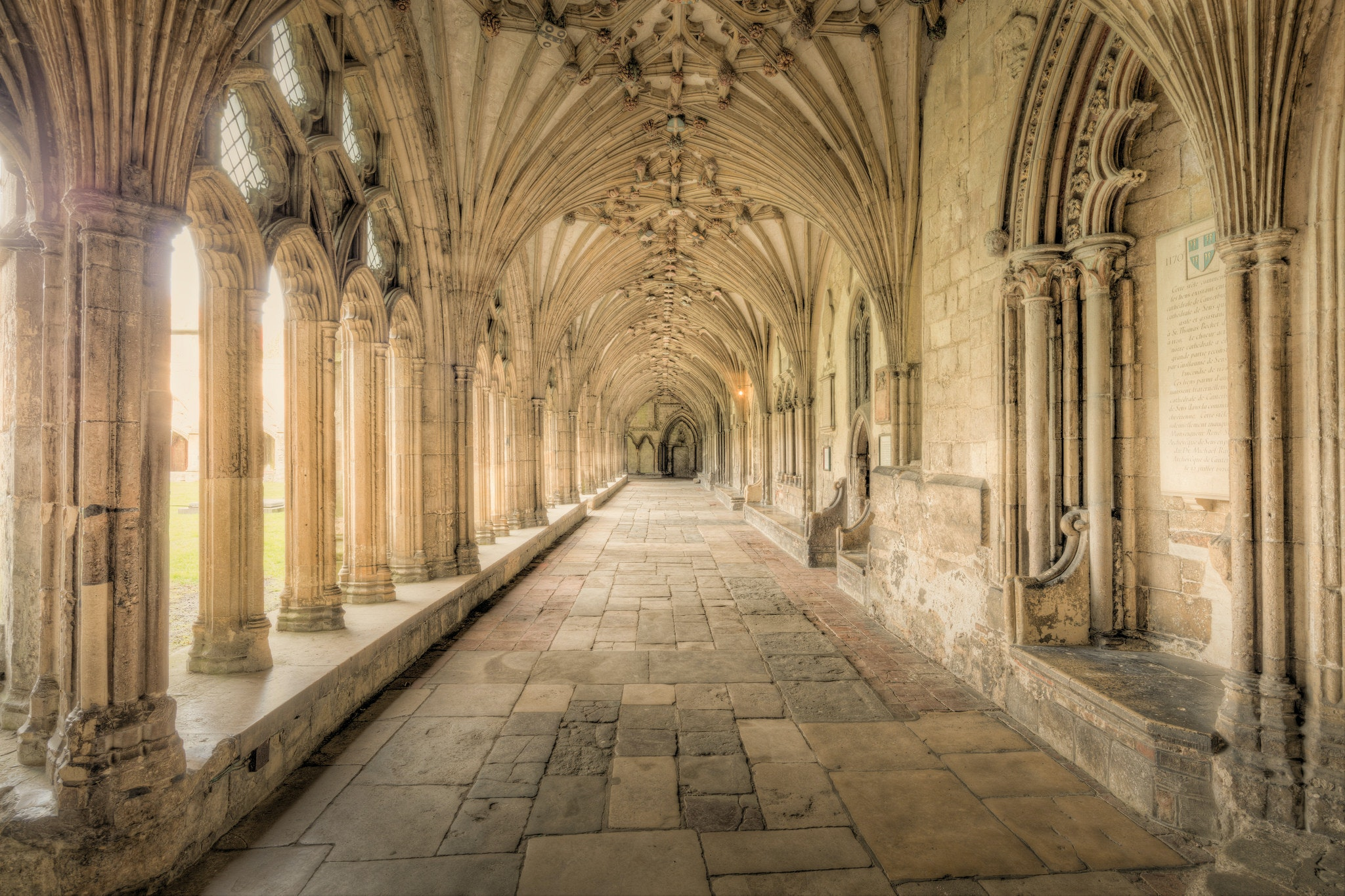 The cloisters of Canterbury Cathedral