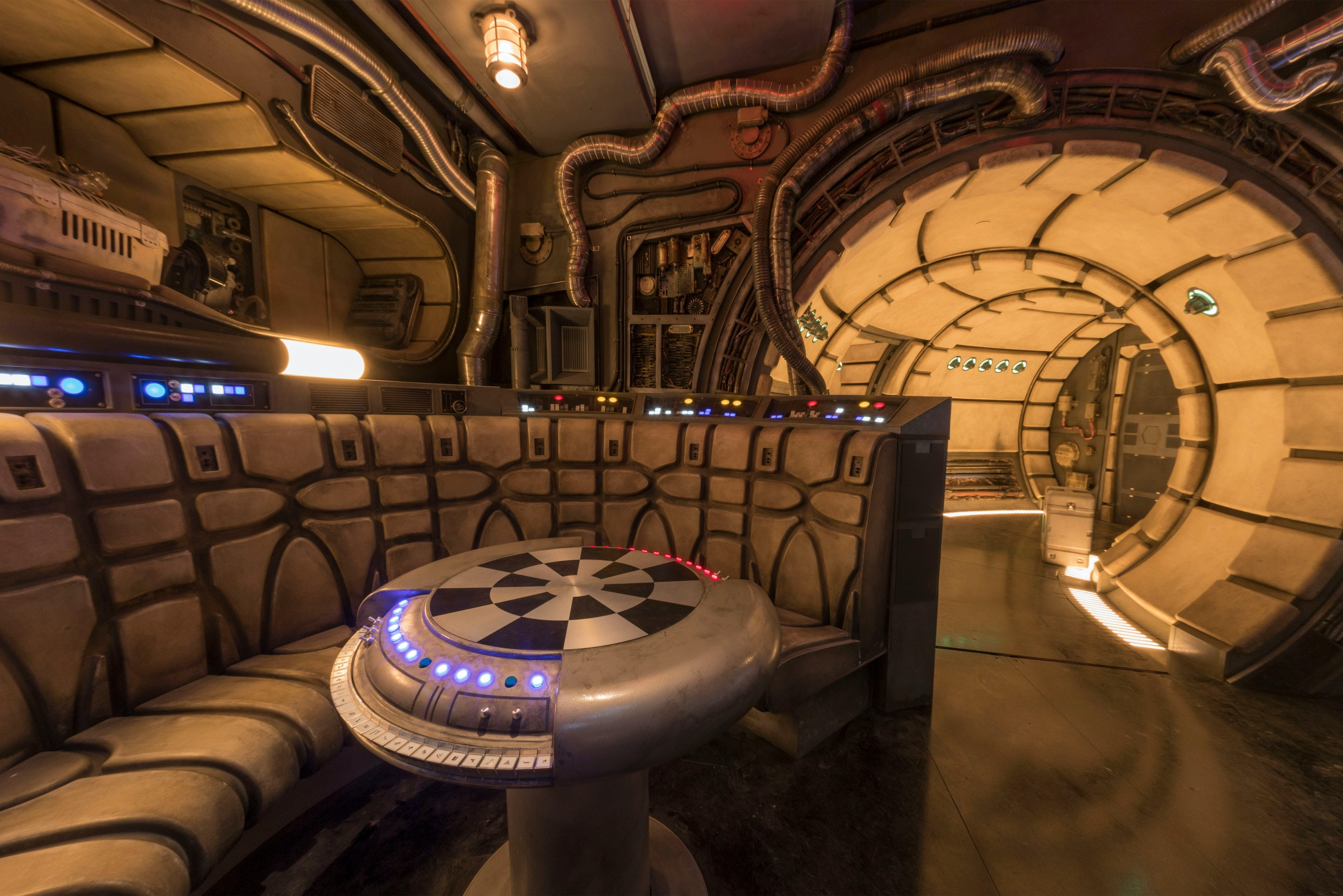 Before entering the cockpit of the Millennium Falcon: Smugglers Run attraction, you'll pass through the chess room of the famous space ship.