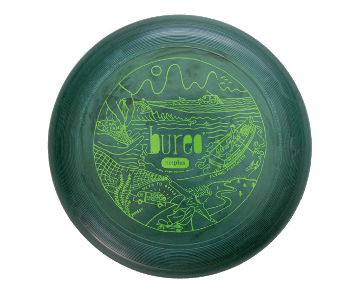 "Bureo's ""75 Gram Freestyle Frisbee,"" featuring custom artwork by Lake Buckley, $12"