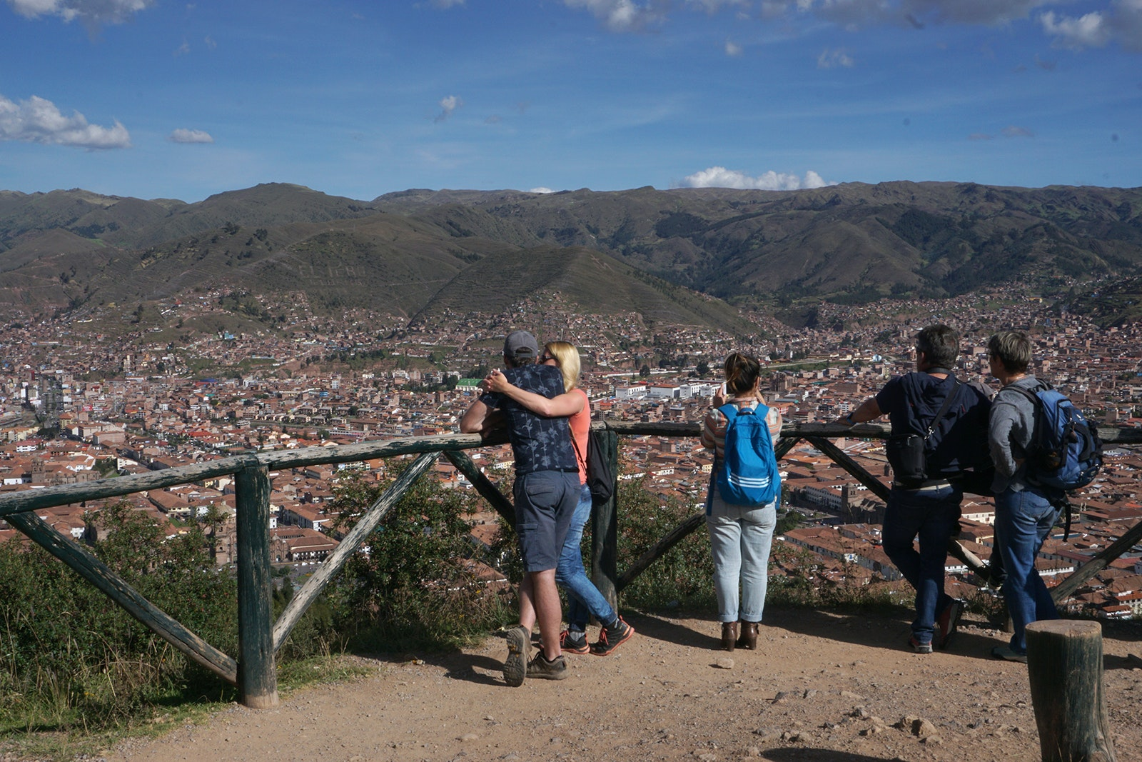 Tourists take in a view of Cuzco.