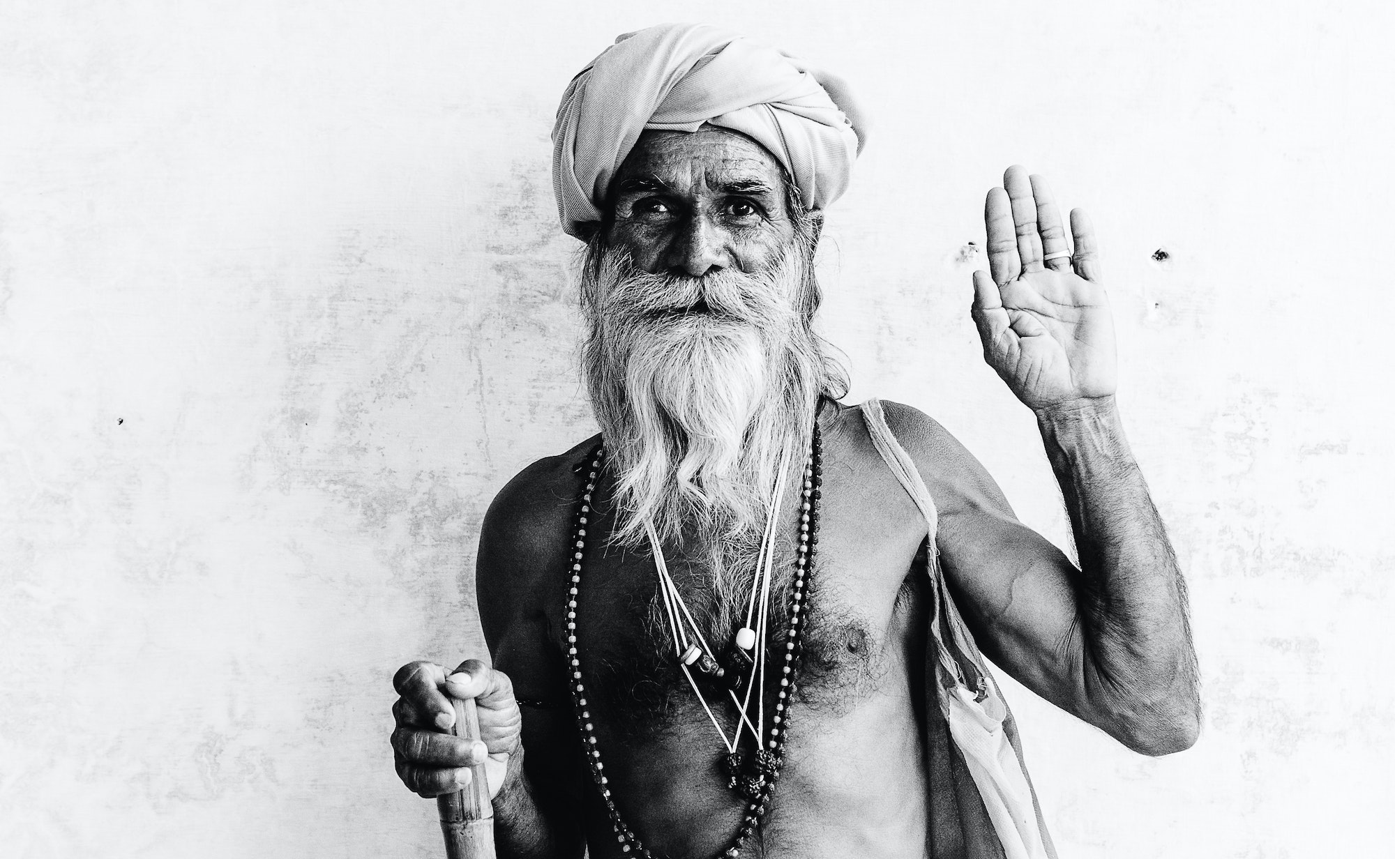 A Rabari tribesman poses for Laucht in the Jawai hills of Rajasthan, India.