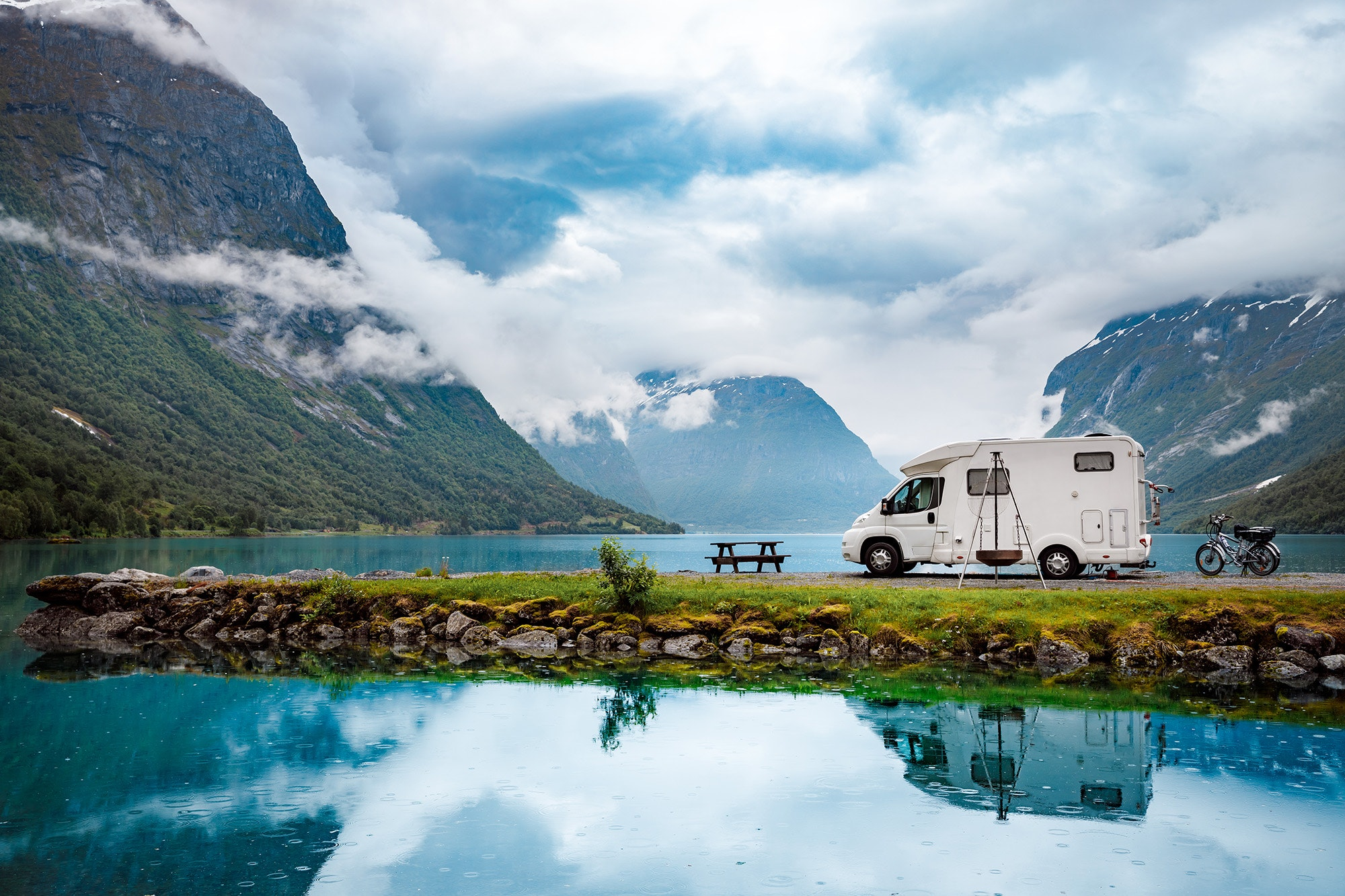 In countries with right-to-access laws, like Norway, it's easy to pull your van over almost anywhere and camp.
