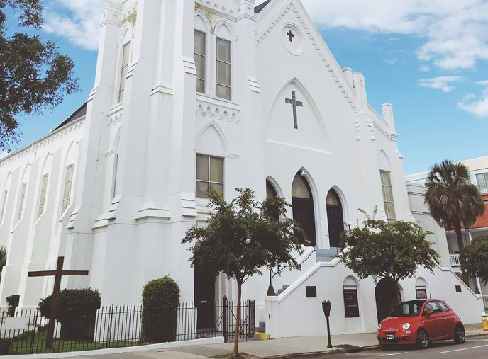 The Emanuel African Methodist Church, known as Mother Emanuel, on Calhoun Street is the congregation's third home; the first was burned by white citizens, the second was destroyed in an earthquake.