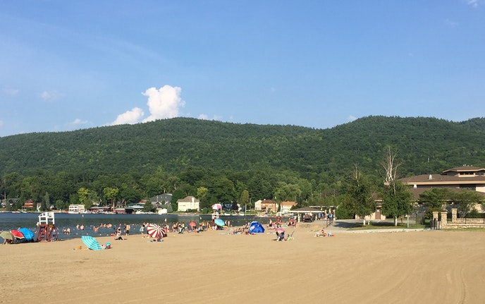The sandy swath at Lake George Beach—better known as Million Dollar Beach—fronts New York's Lake George.